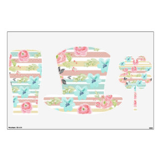 pastel stripeswater colour floralstrendygirlyc wall decal - Girly Pictures To Colour In