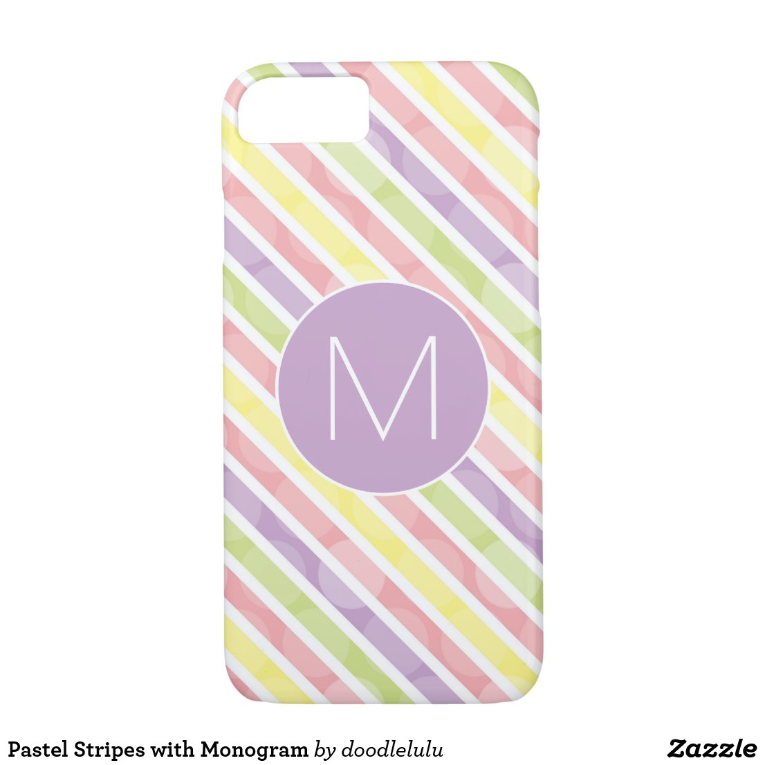 Pastel Stripes with Monogram iPhone 8/7 Case