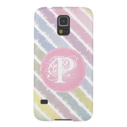 Pastel Stripes with Monogram Phone Case Galaxy S5 Case