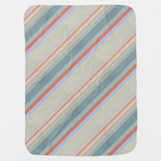 Pastel Strips in Leather Texture Baby Blankets
