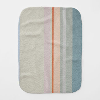 Pastel Strips in Leather Texture Baby Burp Cloth