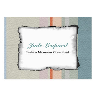 Pastel Strips in Leather Texture Large Business Cards (Pack Of 100)
