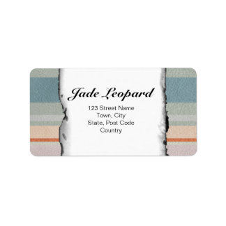 Pastel Strips in Leather Texture Personalized Address Label