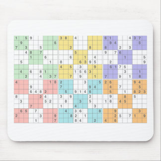 pastel sudoku mouse pad
