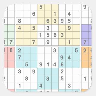 pastel sudoku square sticker