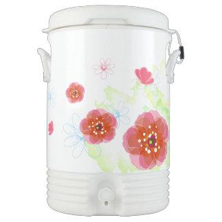 Pastel Summer Flowers and Butterflies Igloo Beverage Dispenser