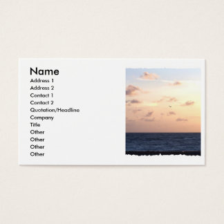 Pastel sunrise over the ocean w/passing seagull business card