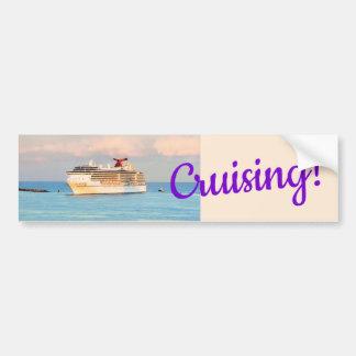 Pastel Sunrise with Cruise Ship Cruising Bumper Sticker