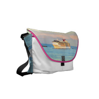 Pastel Sunrise with Cruise Ship Small Messenger Bag