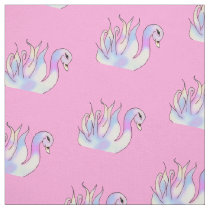 Pastel Swans Hand Drawn Art Fabric