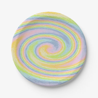 Pastel Swirl Paper Plates 7 Inch Paper Plate