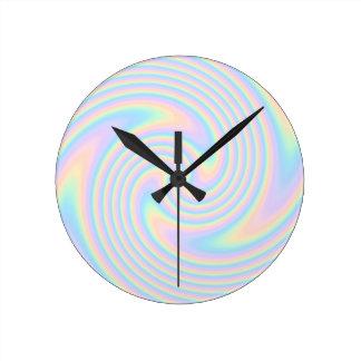 Pastel Swirl Twist Design. Round Clock