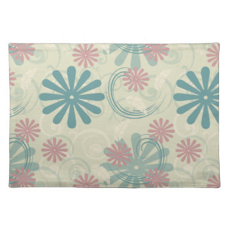 Pastel Swirls and Flowers Cloth Placemat