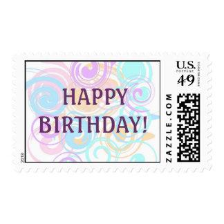 Pastel Swirls Postage Stamp