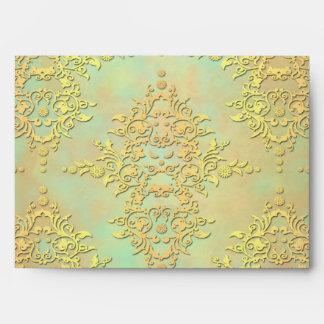 Pastel Teal and Gold Aurora Antiqued Damask Envelope