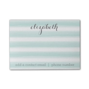 MarshEnterprises Pastel Teal and Gray Stationery Suite for Women Post-it Notes