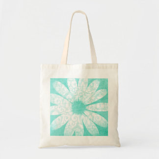 Pastel teal blue daisy flower reusable grocery bag