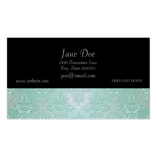 Pastel Teal Blue Green Damask Double-Sided Standard Business Cards (Pack Of 100)