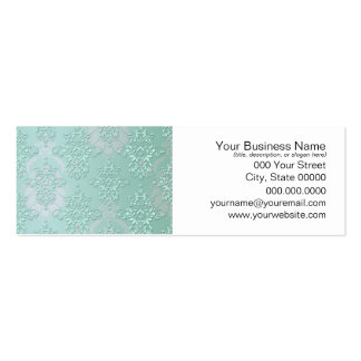 Pastel Teal Blue Green Damask Double-Sided Mini Business Cards (Pack Of 20)