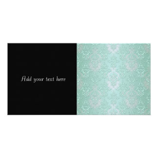 Pastel Teal Blue Green Damask Card