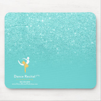 Pastel teal faux glitter ombre color block logo4 mouse pad