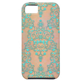 Pastel Teal over Peachy Gold Fancy Damask iPhone SE/5/5s Case