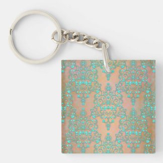 Pastel Teal over Peachy Gold Fancy Damask Keychain