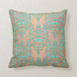 Pastel Teal over Peachy Gold Fancy Damask Throw Pillow