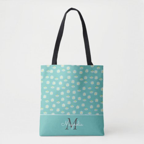 Pastel Teal White Floral Monogrammed Tote Bag