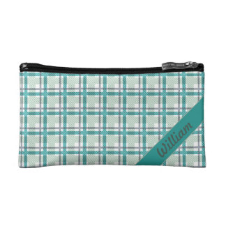 Pastel teal with blue tartan pattern with name makeup bag