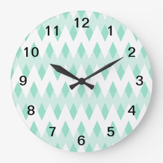 Pastel Teal Zigzag Pattern with Diamond Shapes. Large Clock