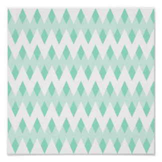Pastel Teal Zigzag Pattern with Diamond Shapes. Poster