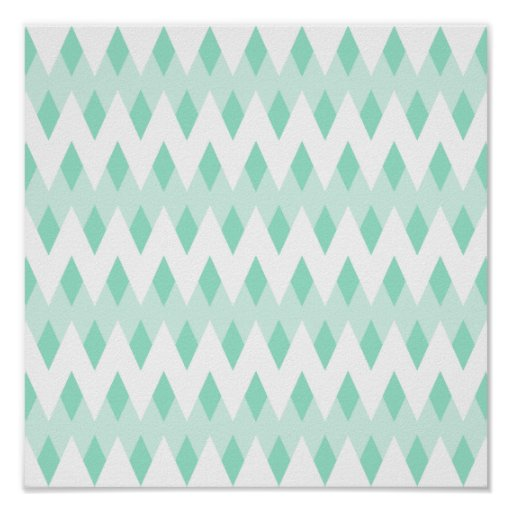 Pastel Teal Zigzag Pattern with Diamond Shapes. Print