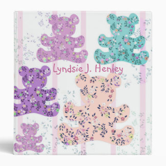 Pastel Teddy Bear Baby album binder