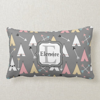 Pastel Teepees and Arrows Monogram Lumbar Pillow
