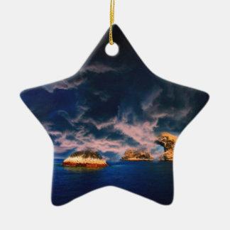 pastel tempestuoso del oasis adorno navideño de cerámica en forma de estrella