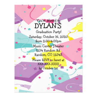 Pastel theme graduation party flyer invitations