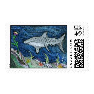 Pastel Tiger Shark Postage