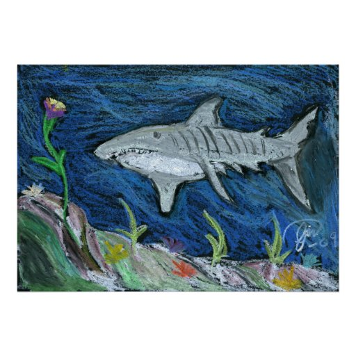 Pastel Tiger Shark Poster