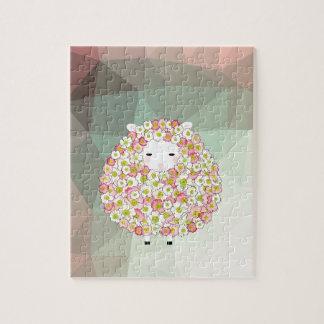 Pastel Tone Flowery Sheep Design Jigsaw Puzzle