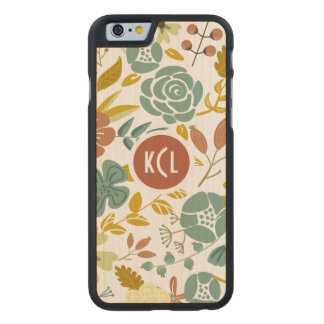 Pastel Tones Fall Leafs And Flowers Carved Maple iPhone 6 Case