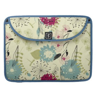 Pastel Tones Retro Floral Design MacBook Pro Sleeves
