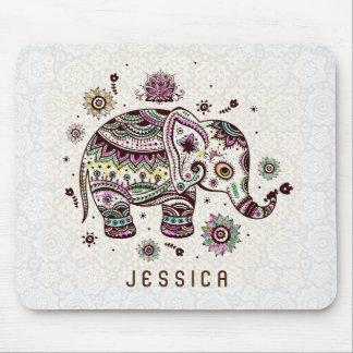 Pastel Tones Retro Floral Elephant On White Mouse Pad