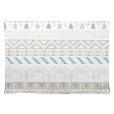 Aztec Themed Pastel Tribal Pattern Cloth Placemat
