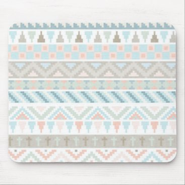 Aztec Themed Pastel Tribal Pattern Mouse Pad