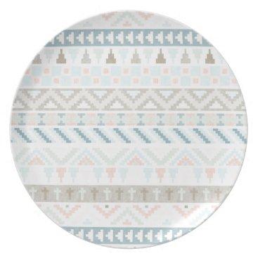 Aztec Themed Pastel Tribal Pattern Plate