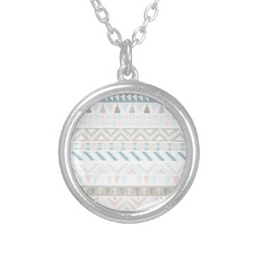 Aztec Themed Pastel Tribal Pattern Silver Plated Necklace