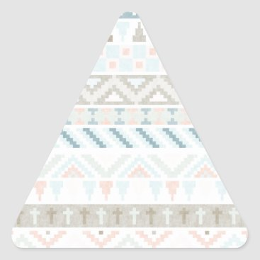 Aztec Themed Pastel Tribal Pattern Triangle Sticker