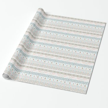 Aztec Themed Pastel Tribal Pattern Wrapping Paper