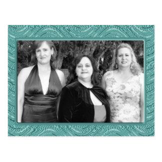 pastel turquoise  frame postcard